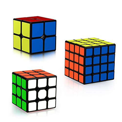 Coolzon Zauberwürfel Set, 3 Stück Speed Cube Set 2x2 3x3 4x4 Speedcube, Magic Cubes für Kinder...