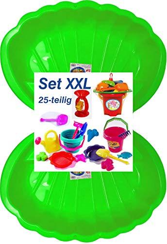 Sandbox Sandkasten Sandmuschel Muschel Wasser Planschbecken groß 108x79cm XL, 5 Farben!...