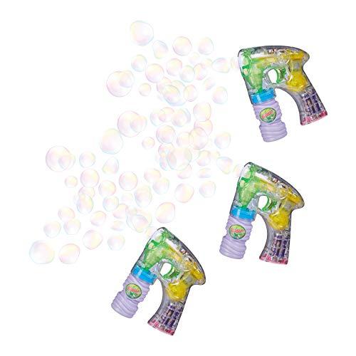 Relaxdays 3 x Seifenblasenpistole mit LED, Seifenblasenmaschine für Kinder, inkl. Batterien und...