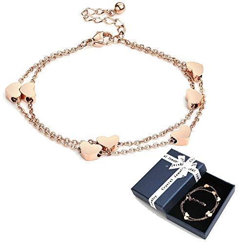 Crazy-m Rosegold Herzen Damen Fußkettchen Layered Armband mit Herz Anhängern Doppelt Kette Armband für...
