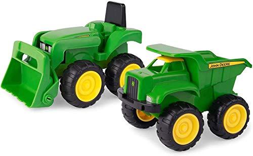 Sandkasten Spielzeugset 'John Deere Mini Bagger und Kipplader' in Grün, Spielzeug Bagger und Kipplaster...