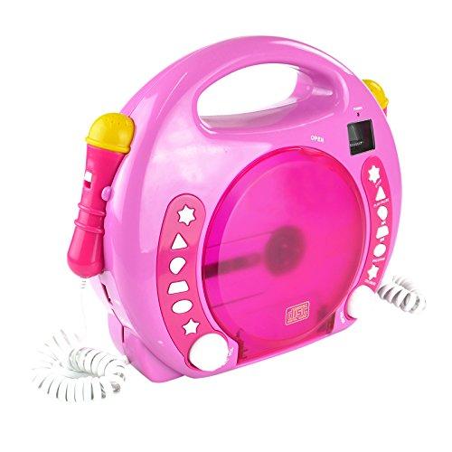 X4-TECH Bobby Joey - Kinder CD Player für USB-Stick, SD-Karte, MP3-CD - 2X Mikrofone Karaoke inkl....