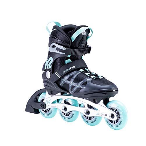 K2 Inline Skates ALEXIS 84 PRO Für Damen Mit K2 Softboot, Black - Light Blue, 30E0114