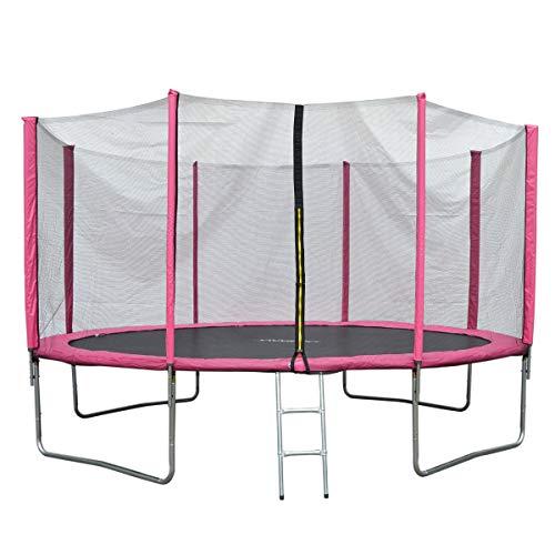 JAWINIO Trampolin Gartentrampolin Trampolin Kinder Komplett-Set Leiter Sprungtuch Randabdeckung (305 cm,...