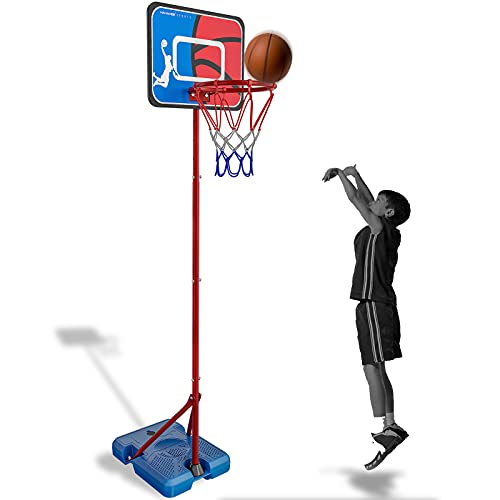 HAHAKEE Basketballkorb für Kinder, Verstellbares Tragbares Basketballset, Kinder-Basketballständer für...