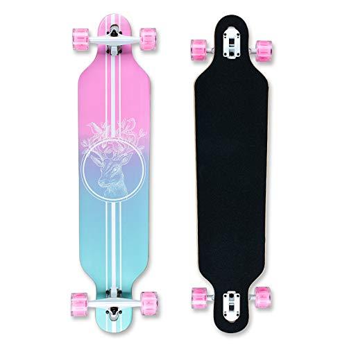 Longboard 41Zoll, mit ABEC-11 Kugellagern ,Drop-Through Freeride Skateboards Cruiser