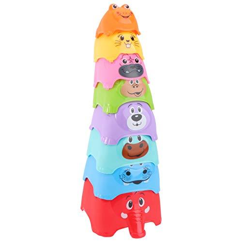 TOYANDONA 8 Stück Stapelbecher Plastiknistspielzeug Tierförmige Babywanne Lernen Zählspielzeug Aufbau...