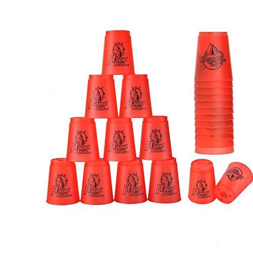 Stapelbecher 12 Stück Sportbecher für Training Spiel Speed Challenge Wettkampf Party (rot)