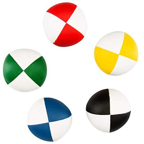 5er Set Diabolo Premium Soft Jonglierbälle zweifarbig - 67mm Ø ✓ Jonglierball Füllung aus...