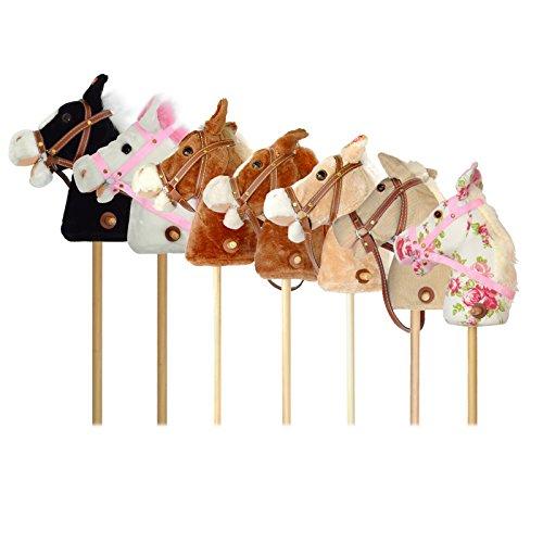 Pink Papaya Steckenpferd, Flower, süßes Spielzeug Pferd aus Stoff mit Sound Funktion: Gewieher und...