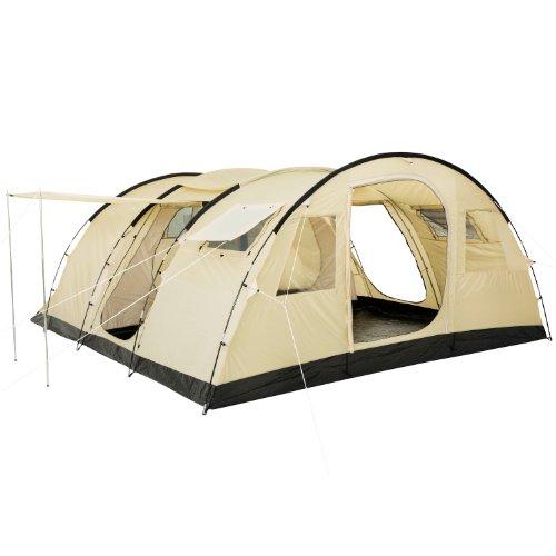 CampFeuer Tunnelzelt Caza Zelt für 6 Personen | riesiger Vorraum, 5000 mm Wassersäule | vernähter...