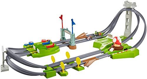 Hot Wheels GCP27 - Mario Kart Mario Rundkurs Rennbahn Trackset Deluxe inkl. 2 Spielzeugautos, Spielzeug...