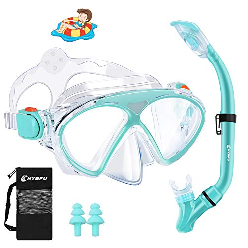 CHYBFU Schnorchelset Kinder, Taucherbrille Kinder mit Leichtes Atmen Dry Schnorchel, Anti-Fog...