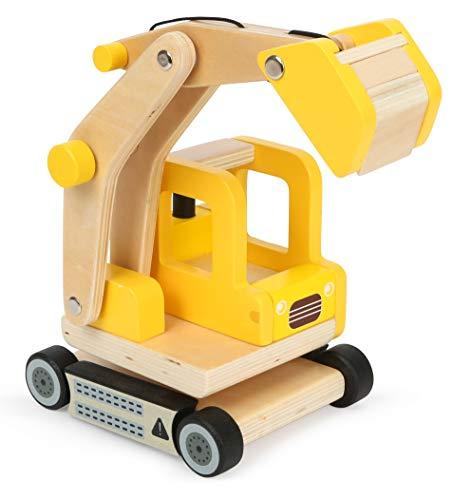 Small Foot 12010 Schaufelbagger aus Holz, FSC 100%-Zertifiziert, beweglicher Baggerarm, 360 Grad drehbar,...