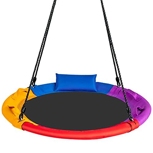 COSTWAY Kinder Nestschaukel mit Kissen, Baumschaukel 100-160cm verstellbaren Seil, Hängeschaukel 150kg...