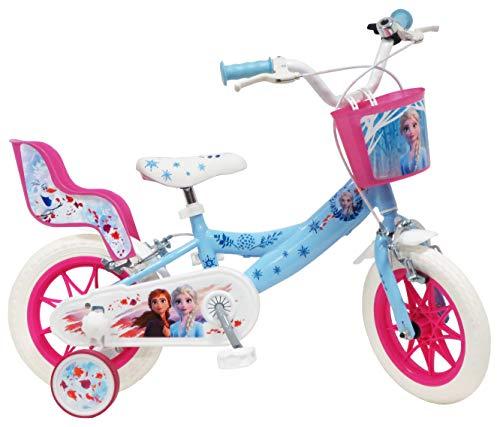 Disney Fahrrad 12'Eiskönigin 2 (Frozen II) mit 2 Bremsen, Korb vorne & Puppenhalterung hinten + 2...