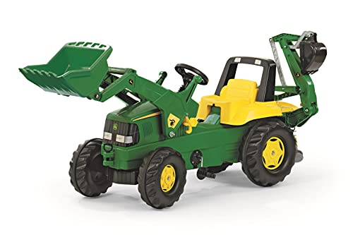 Rolly Toys Traktor / rollyJunior Trettraktor John Deere (mit Lader und Heckbagger, für Kinder ab 3...
