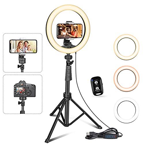 UBeesize 10' Selfie Ring Licht mit Stativ Ständer & Handyhalter für Live Stream/Makeup, Mini Led Kamera...