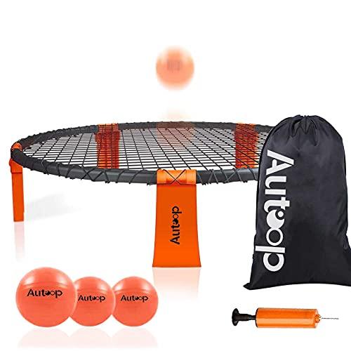 Autoop Roundnet Set mit 3 Bällen, Spiderball Set für Anfänger und Profis, Outdoor Games im Garten,...