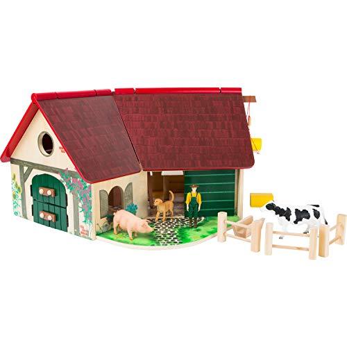 Woodfriends Bauernhof aus FSC® 100%-zertifiziertem Holz, mit aufklappbarem Dach, Farm für Kinder ab 3...