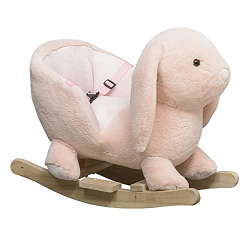 HOMCOM Kinder Schaukelpferd Baby Schaukeltier Kaninchen mit Tiergeräusche Spielzeug Haltegriffe Plüsch...