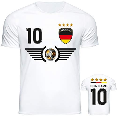 Deutschland Trikot mit Name & Nummer im EM WM weiß Design #DE6 2021/2022 - Geschenke für Kinder, Erw,...