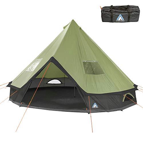 10T Outdoor Equipment Unisex– Erwachsene Campingzelt Mojave 500 Beechnut XXL Tipi Zelt wasserdichtes...