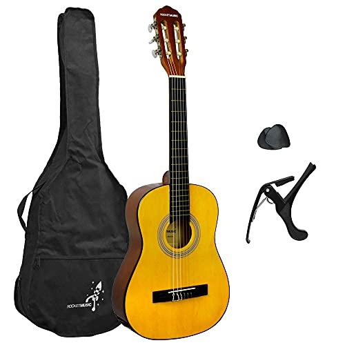 Rocket CG12BL Konzertgitarre, klassische Gitarre Gitarren-Set 1/2 natur