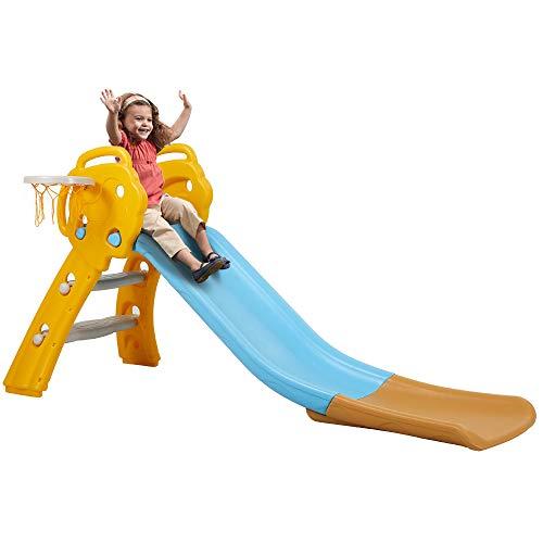 Albott Rutsche Kinder Kinderrutsche Kunststoff Kleinkinderrutsche mit Basketballkorb Gartenrutsche mit...