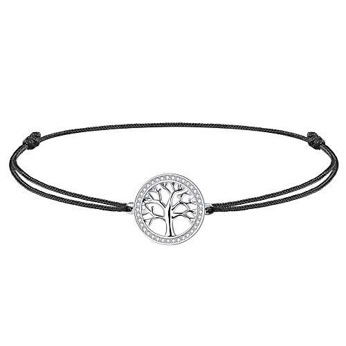 J.Endéar Fußkettchen lebensbaum Damen Mädchen Silber 925 mit Zirkonia, 37cm verstellbare Seil...