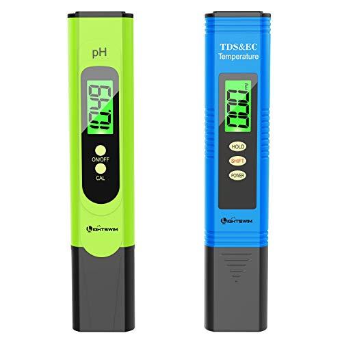 Lightswim Wasserqualitätsprüfgerät, PH-Messgerät mit hoher Auflösung von 0,01, 3 in 1 TDS + EC +...