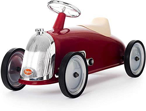 Baghera Rutschauto Rot | Rutschfahrzeug XL für Kinder mit zahlreichen lebensechten Details | Retro...