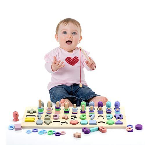 EKKONG Montessori Spielzeug ab 3 Jahre,Montessori Mathematik Spielzeug, Zahlenlernspiel,Holzblöcke...