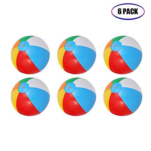 ThinkMax Wasserball Aufblasbar, 6 Stück 10 '' Badeball Schwimmball für Sommer im Freien und Schwimmen...