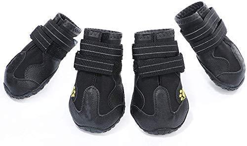 AILOVA Hundeschuhe, 4er-Set Stoff PU-Leder wasserdicht Schützen Sie Schuhe für Hunde Outdoor-Sport...