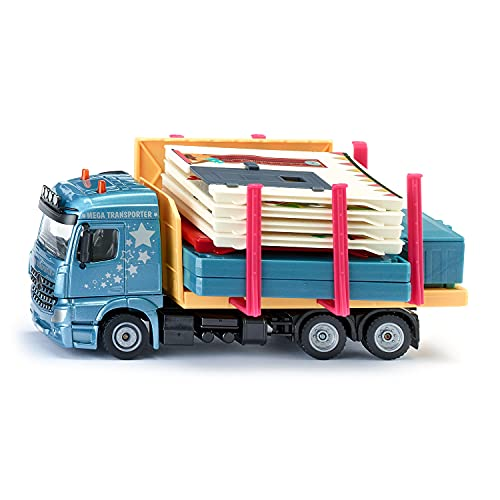 siku 3562, Fertighaus-Transporter, 1:50, Metall/Kunststoff, Multicolor, Inkl. Haus und Stickerbogen