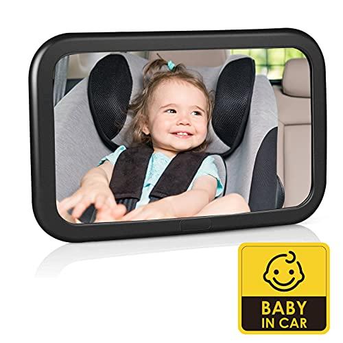Rücksitzspiegel für Babys, Bruchsicherer Baby Autospiegel, 360° schwenkbar, Auto-Rückspiegel für...