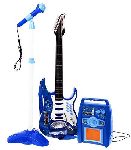 Rock-Gitarre mit Stahlsaiten, Verstärker, verstellbare Stativ und Mikrofon - Rockgitarre für Kinder -...