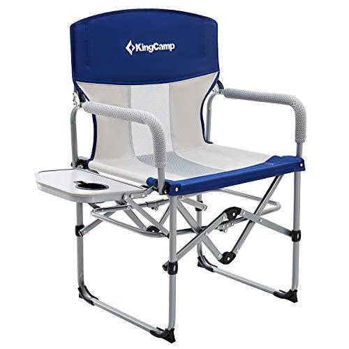 KingCamp Tragbar Campingstuhl Atmungsaktive Netzstoffrückenlehne mit Seitentisch und Griff (1 Pack...