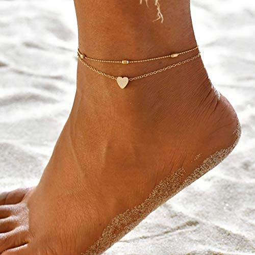 Damen Fußkettchen mit Herz in Gold | Zwei Ketten aus Edelstahl | Fußschmuck Mehrreihige Kette vergoldet