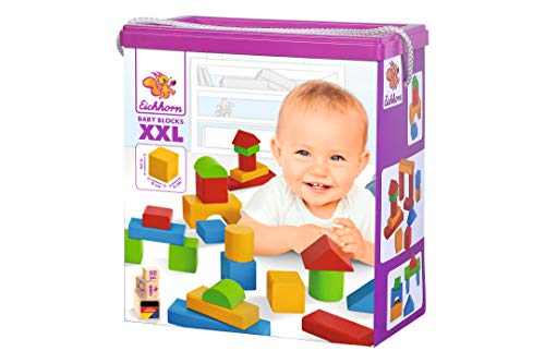 Eichhorn 50 extra große Baby Holzbausteine in der Aufbewahrungsbox mit Kordel, für Kinder ab einem Jahr