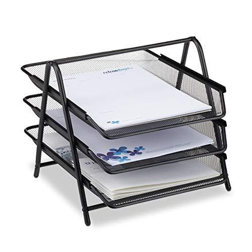 Relaxdays Dokumentenablage aus Metall, Briefablage 3 Fächer, Mesh Design Schreibtischablage für A4...