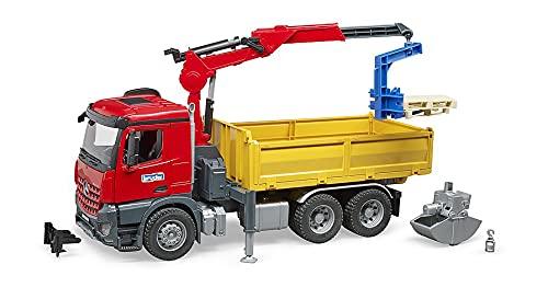 Bruder 03651 - Merdedes-Benz Arocs Baustellen-LKW mit Kran, Schaufelgreifer, Palettengabeln und 2...