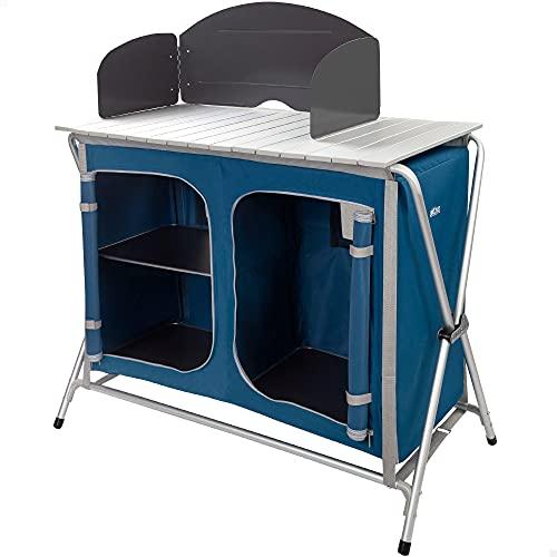 AKTIVE 52854 Campingküche aus Aluminium und Textil, Unisex-Erwachsene, Mehrfarbig, 60 x 49 x 70 cm