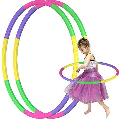 KKLOVEU 2 Pack Hoola Hoop Reifen Kinder, 8 Abschnitte Hoola Hoop Kinder für Kinder Größenverstellbares...