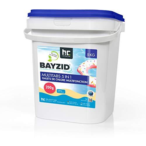 Chlor Multitabs 5 in 1 - 200g Tabs Multi Chlortabletten - 1 x 5kg mit 5 Phasen Pflegewirkung für...