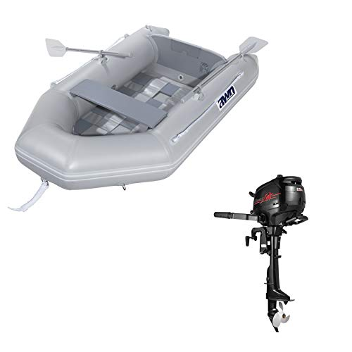Set of inflatable boat and 2.5 HP outboard motor yacht tender dinghy angel boat