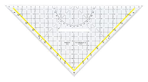 Aristo TZ-Dreieck (Geodreieck 1648/2 aus Plexiglas mit Griff und Tuschenoppen, Facette an Hypotenuse,...
