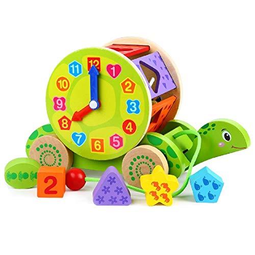 Lalia Nachzieh Holzspielzeug, Schnecke, Ente, Zug Motorik Spielzeug, Nachziehtier bunt, aus Holz,...