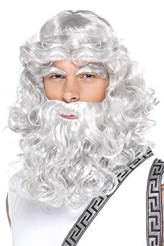 Smiffys Herren Zeus Perücke, Perücke mit Bart und Augenbrauen, Grau, One Size, 42301